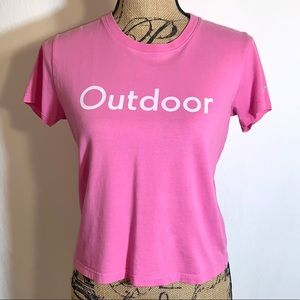 Outdoor Voices Pink Tee For Opening of LA Store